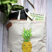 Hand Painted, 100 % Cotton Tote Bag with Original Artwork, Happy Pineapple