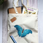 Hand Painted, Cotton Bag with Original Artwork, Blue Butterfly