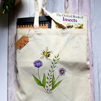 Hand Painted, 100% Cotton tote Bag with Original Artwork, Bee and flowers