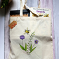 Hand Painted, Cotton Bag with Original Artwork, Bee and flowers