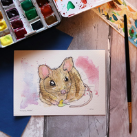 Hungry mouse Original watercolour art