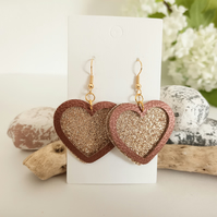 Heart Faux Leather Earrings