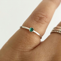 Emerald Ring Sterling Silver, Dainty and Minimalist