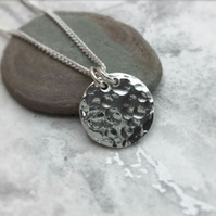 Men's Hammered Disc Necklace Sterling Silver