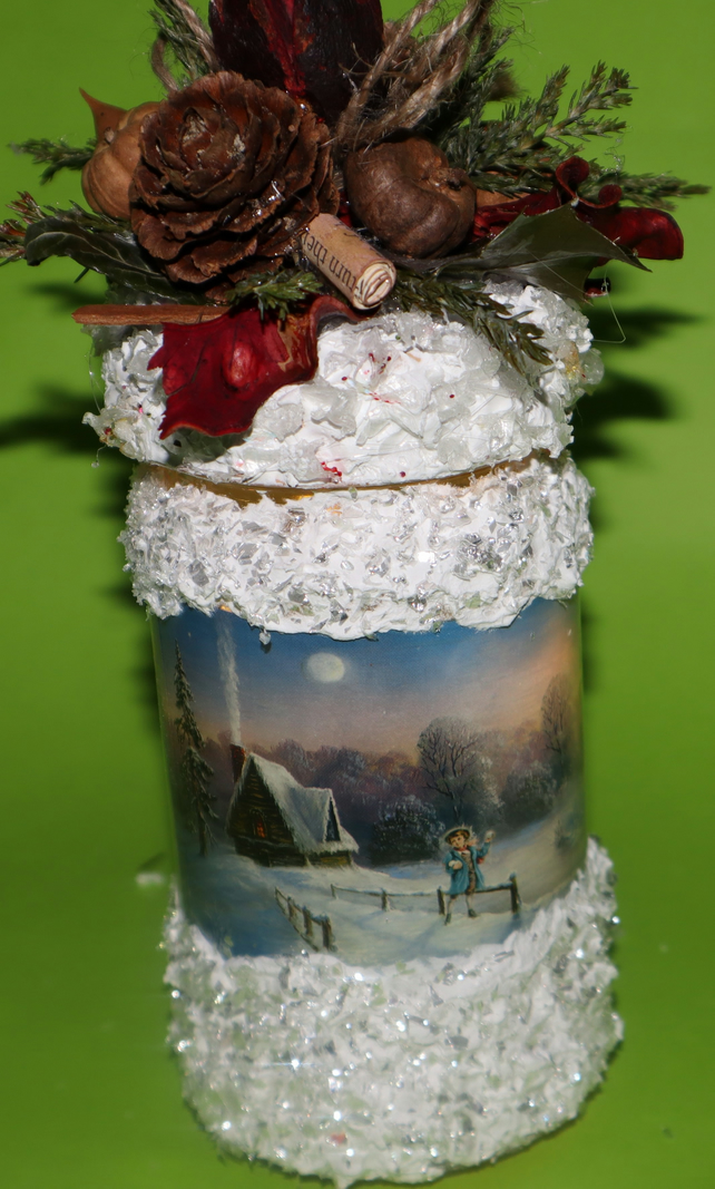 Pine cones Christmas Boot, Candle Arrangements, Christmas Decorations,