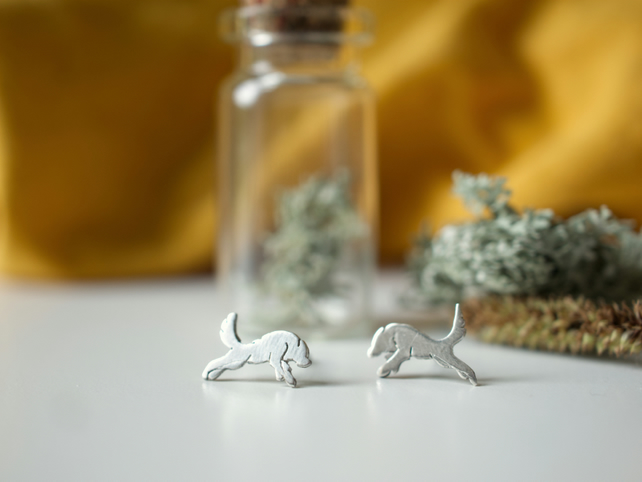 Eco Silver Handcut Wolf Stud earrings