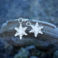 Eco Silver Snowflake Dangle Earrings