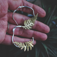 Eco Silver Fern Hoop Earrings - Made to order