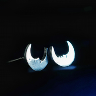 Sleepy Moon Eco Silver Stud Earrings
