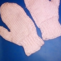 pink knitted mittens