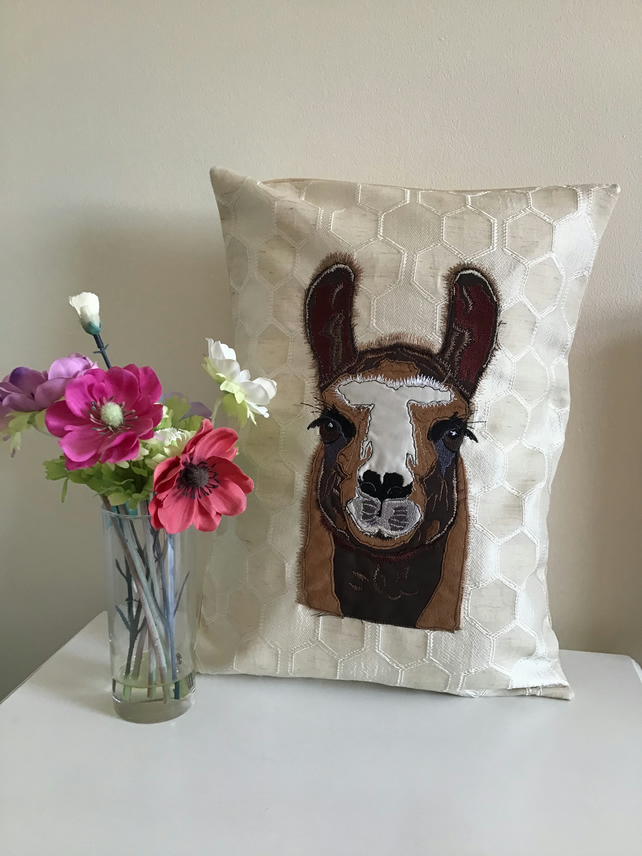 Llama or Alpaca raw edge appliqué cushion