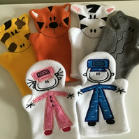 Zoo hand puppets - set of six.