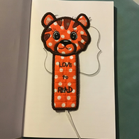 Tiger bookmark, Love to read.