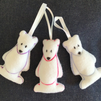 Polar bear hanging tree decoration. Set of three.