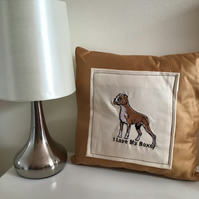 Boxer dog embroidered cushion.