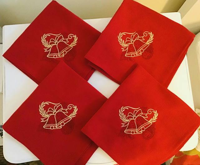 Christmas Napkins, set of four, red, bells,