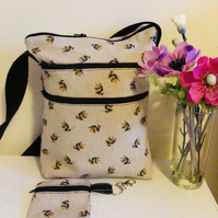 Bumblebee crossbody or shoulder bag. With coin purse.