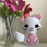 Cat softie . White and pink.