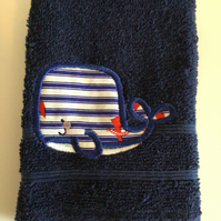 Whale flannel in dark blue.