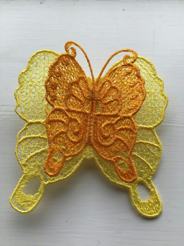 Butterfly lace brooch. Yellow