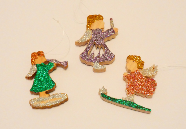Set of 3 Wooden Angel Decorations with Glitter