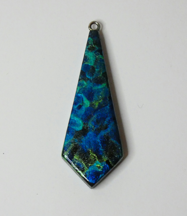 One of a Kind Wooden Blue, Green and Black Painted Pendant Necklace