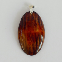 Unique Wood Stained Red, Orange, Purple and Black Wooden Oval Pendant Necklace