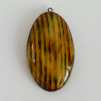 Unique Wood Stained Green, Yellow and Black Wooden Oval Boho Pendant Necklace
