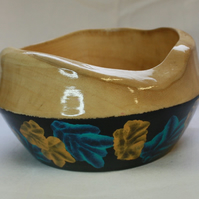 Unique Sycamore Wood Trinket Bowl with Irridescent Blue, Black and Gold Base