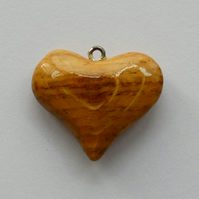 Unusual Wooden Spalted Wood Heart Pendant Necklace