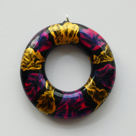 Multicoloured Wooden Pink, Gold and Black Circle Pendant Necklace
