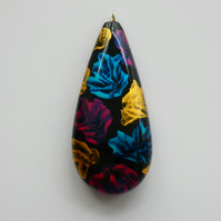 Chunky Blue, Pink, Gold and Black Wooden Teardrop Boho Pendant Necklace