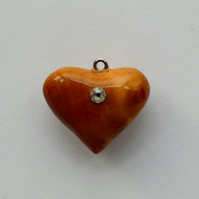 Unique Wooden Burr Wood Heart Pendant Necklace with a single Strass Crystal