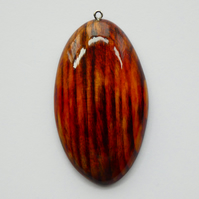 One of a Kind Wood Stained Red, Yellow and Black Wooden Oval Pendant Necklace