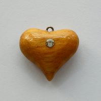 Unusual Wooden Heart Pendant Necklace with a single Strass Crystal