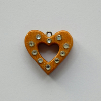 Beautiful Wooden Oak Heart with Crystals Pendant Necklace