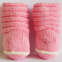 Hand Knitted Pink and White Baby Booties