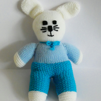 Hand Knitted White Rabbit Toy