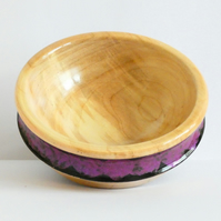 One of a Kind Sycamore Wood Trinket Bowl with Irridescent Pink and Black Band