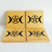 Wooden Moon Goddess Coasters