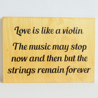Wooden Love Sign for Music Lovers