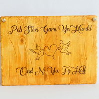 Rustic Wooden Welsh Love Sign