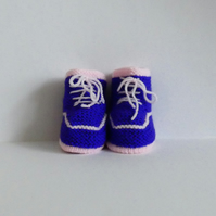 Purple and Pink Trainer Style Handknitted Baby Booties