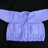 Hand knitted Purple Baby Matinee Jacket