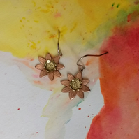 Copper & Brass Daisy Flower Earrings