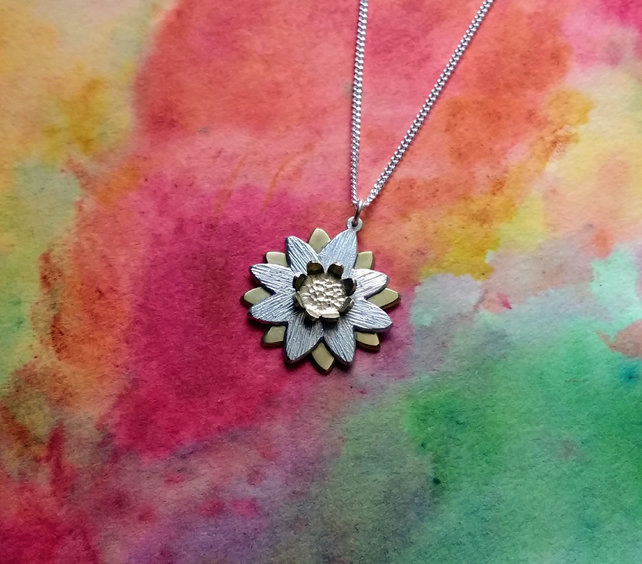 "Silver & Brass Double Daisy Flower Pendant, 16"" Silver Curb Chain"
