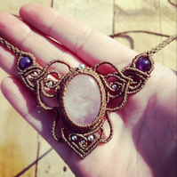 Rose Quartz and Amethyst Macrame Necklace