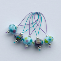 Lampwork Stitch Markers - Purple Turquoise Pop