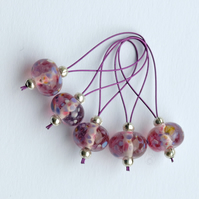 Lampwork Stitch Markers - Pretty in Pink