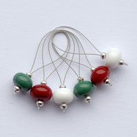 Lampwork Stitch Markers - Christmas Colours